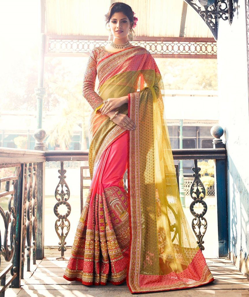 Light Mehendi Green & Pink Color Half Net & Half Crepe Silk Designer Bridal Wear Sarees : Rupnikhar Collection  NYF-1464 - YellowFashion.in