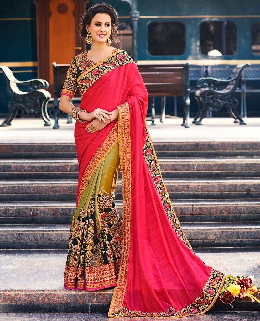 Pink & Olive Green Color Half Raw Silk & Half Crepe Designer Bridal Wear Sarees : Rupnikhar Collection  NYF-1465 - YellowFashion.in