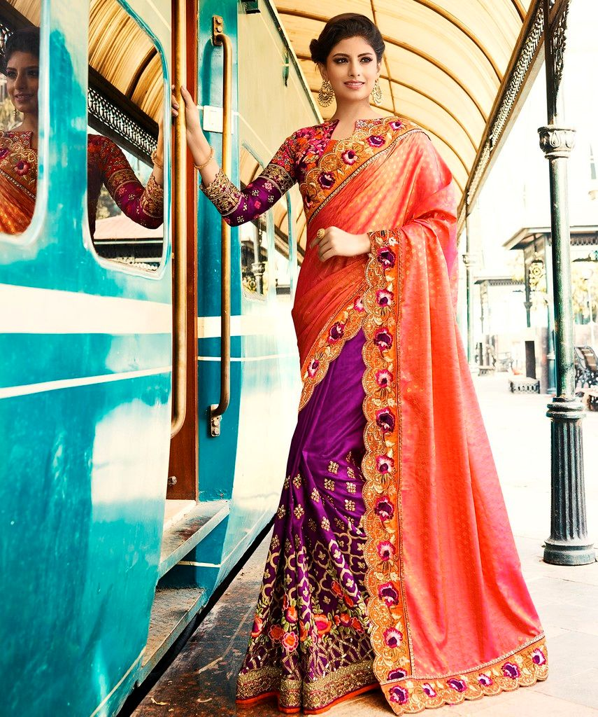 Purple & Peach Color Raw Silk Designer Bridal Wear Sarees : Rupnikhar Collection  NYF-1466 - YellowFashion.in