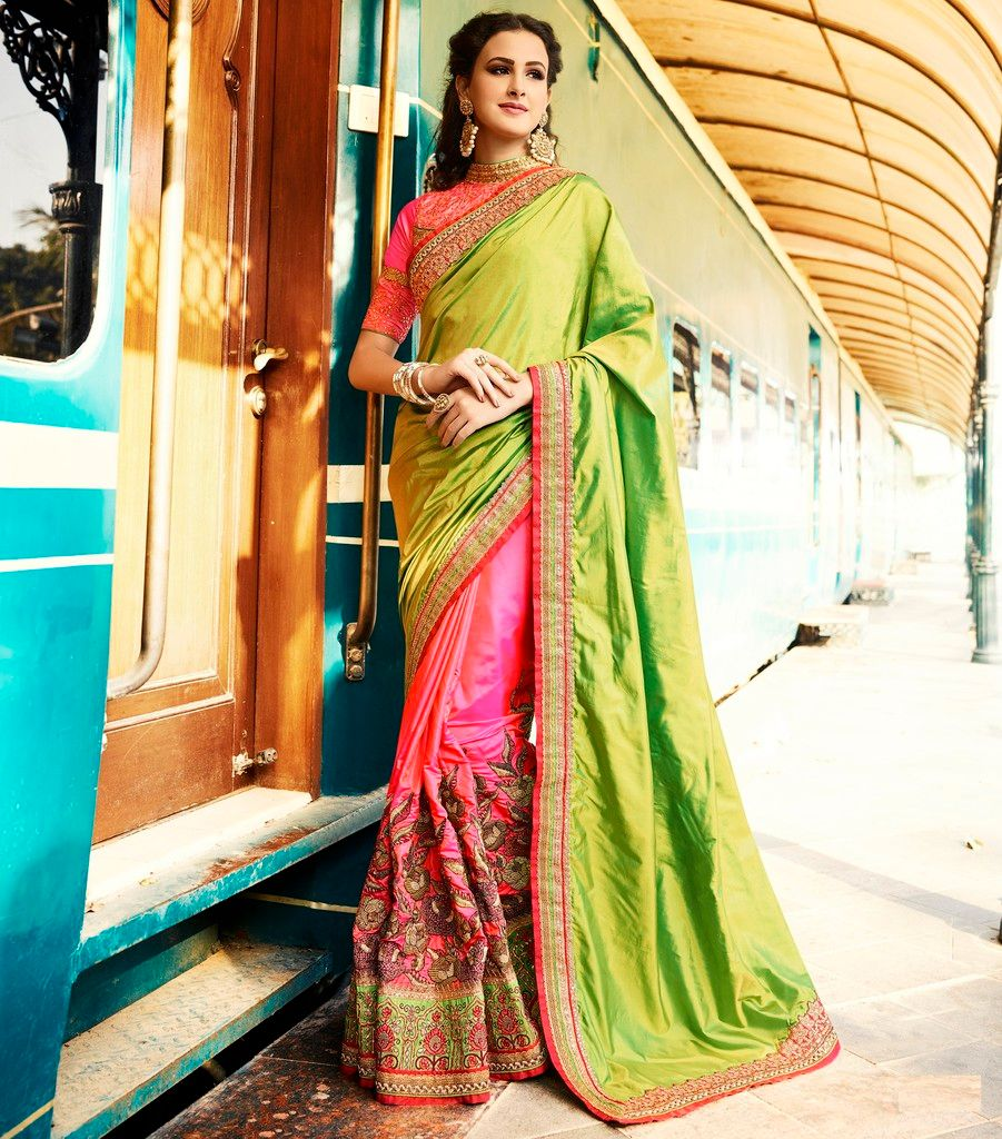 Parrot Green & Pink Color Crepe Silk Designer Bridal Wear Sarees : Rupnikhar Collection  NYF-1467 - YellowFashion.in
