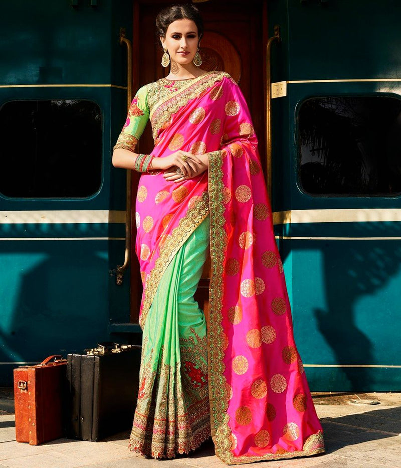 Pink & Sea Green Color Raw Silk Designer Bridal Wear Sarees : Rupnikhar Collection  NYF-1468 - YellowFashion.in