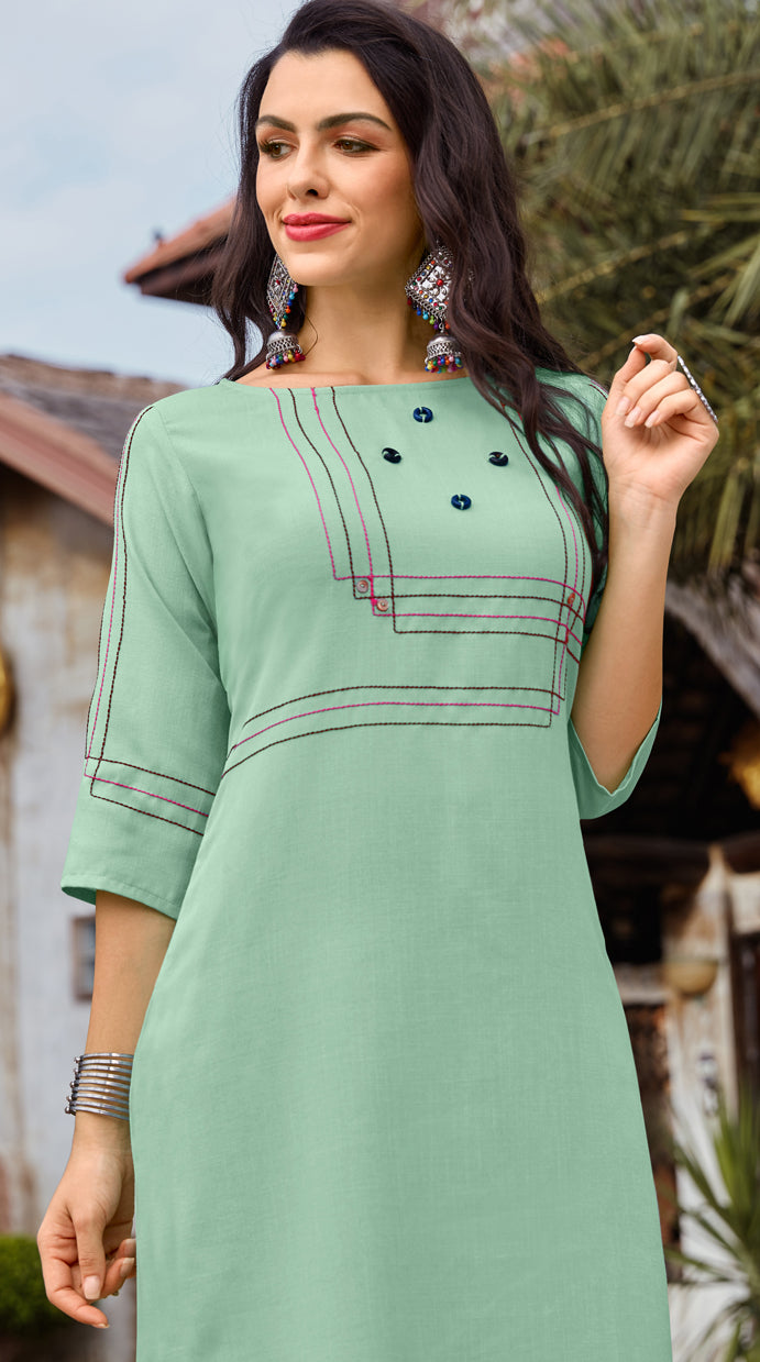 Aqua Green Color Cotton Readymade Kurti With Palazzo NYF-6830