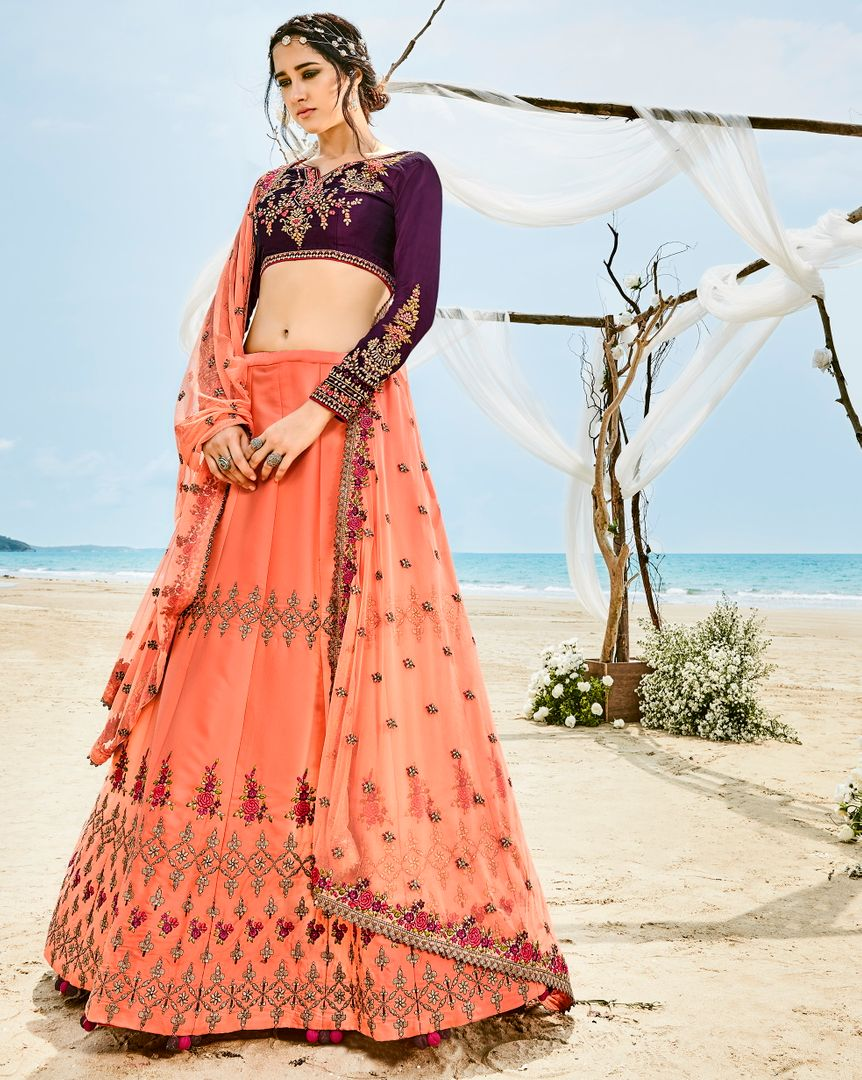 Peach  Barfi Silk Designer Lehenga For Wedding Functions : Kreshti Collection  NYF-3302 - YellowFashion.in
