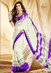 Off White & Purple Color Crepe Uniform Sarees : Varnika Collection  YF-50462