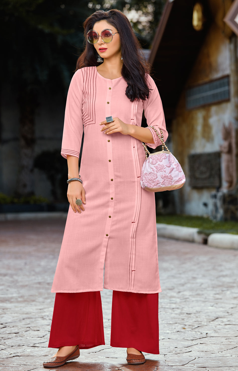 Pink Color Cotton Readymade Kurti With Palazzo NYF-6834