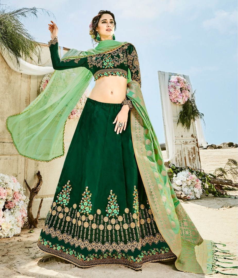 Bottle Green  Garima Silk Designer Lehenga For Wedding Functions : Kreshti Collection  NYF-3303 - YellowFashion.in