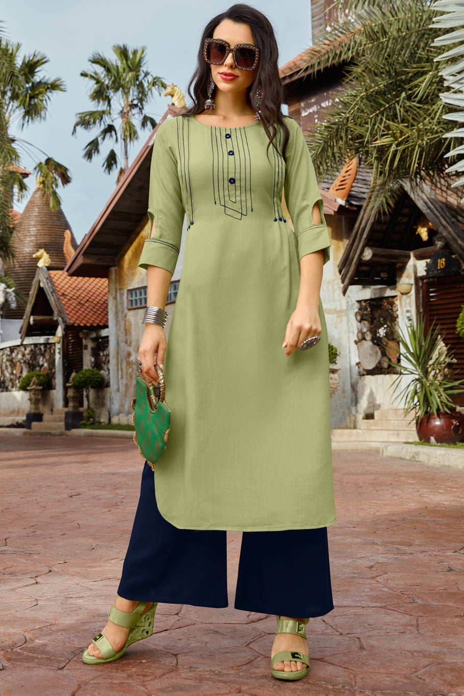 Pastel Green Color Cotton Readymade Kurti With Palazzo NYF-6838