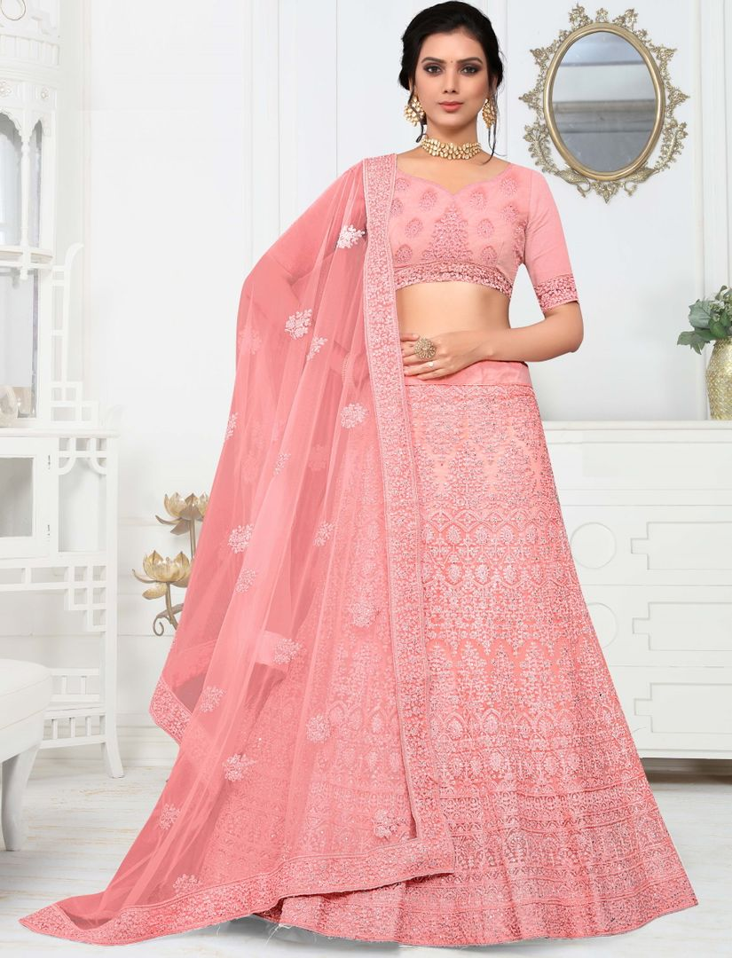 Pink Color Net Pretty Occasion Wear Lehengas NYF-4338 - YellowFashion.in