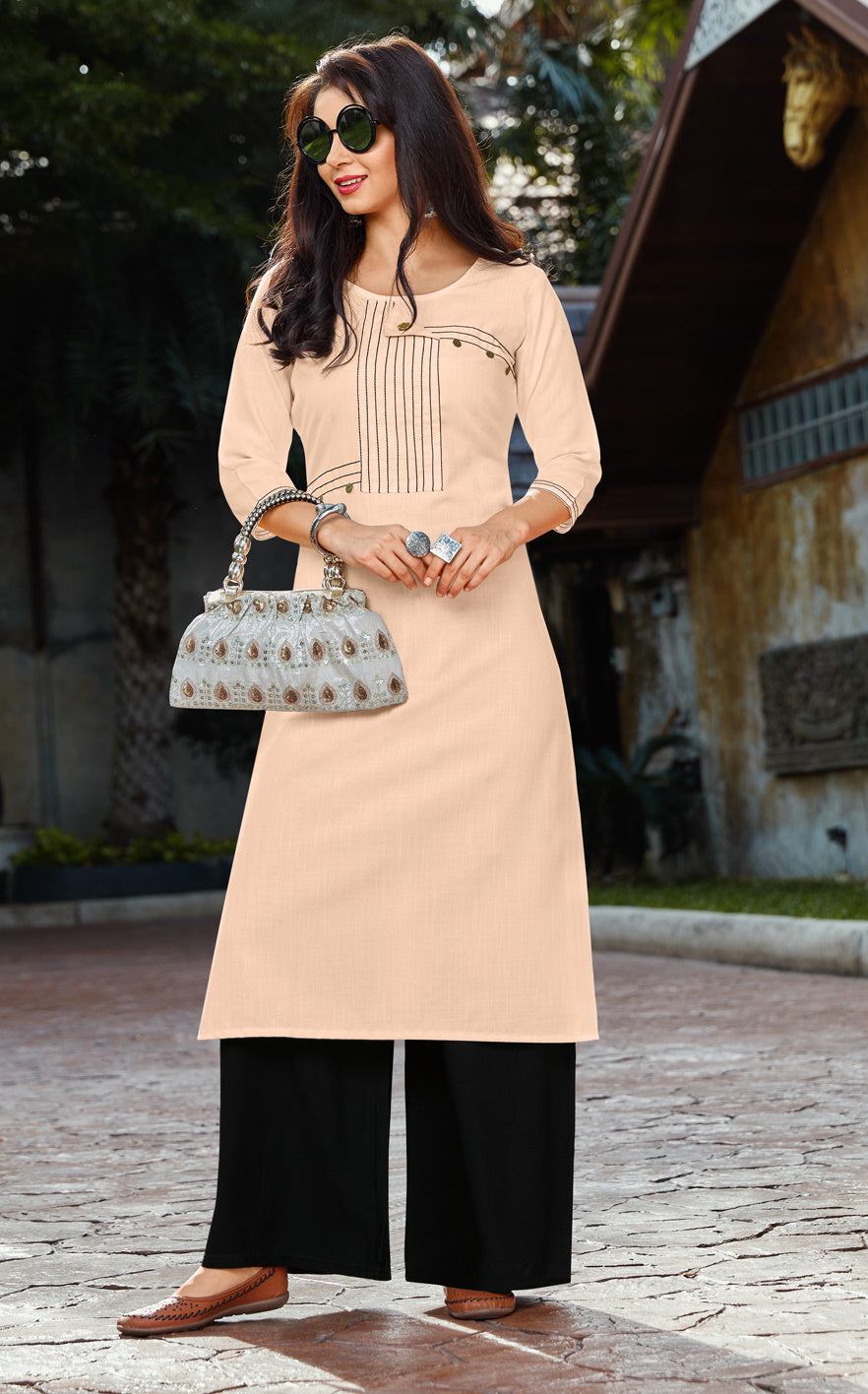 Peach Color Cotton Readymade Kurti With Palazzo NYF-6842