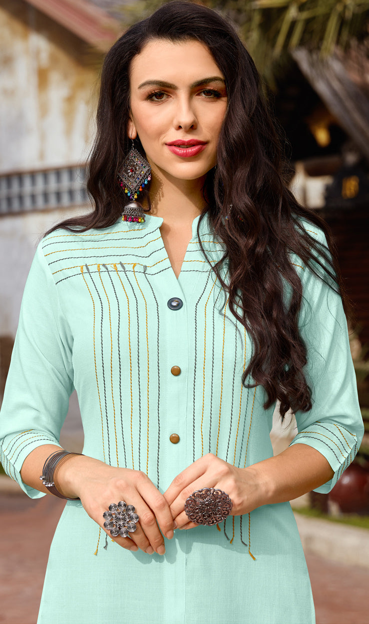Aqua Green Color Cotton Readymade Kurti With Palazzo NYF-6846