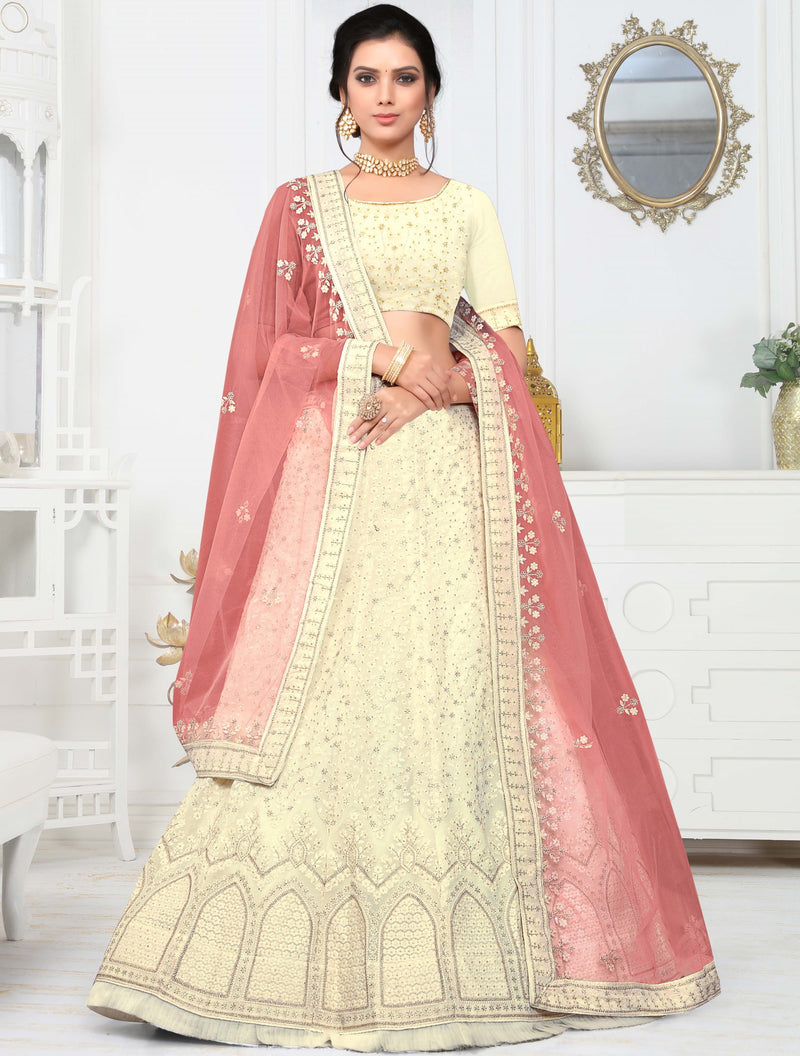 Off White Color Net Pretty Occasion Wear Lehengas NYF-4342 - YellowFashion.in