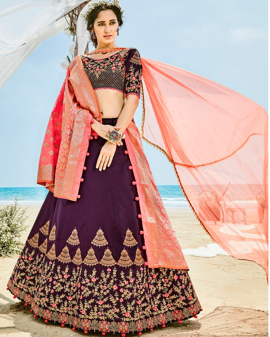 Purple Velvet Silk Designer Lehenga For Wedding Functions : Kreshti Collection  NYF-3304 - YellowFashion.in