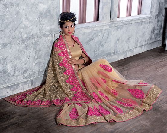 Cream Color Net Party Wear Sarees : Pinati Collection  NYF-3349 - YellowFashion.in