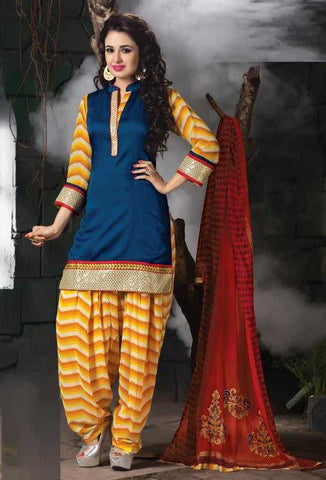 Blue and Yellow Color Cotton and Georgette Readymade Salwar Suits ( Sizes -42) : Solitaire Collection  YF-23348