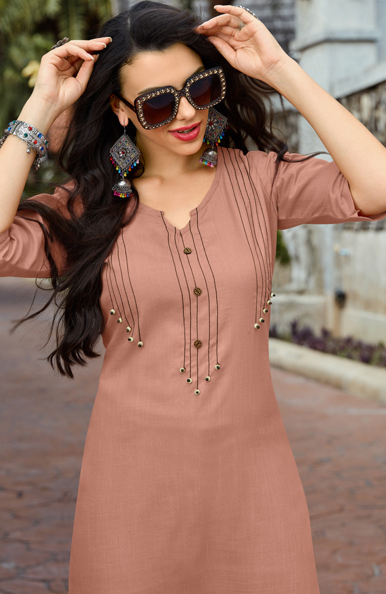 Rust Pink Color Cotton Readymade Kurti With Palazzo NYF-6850