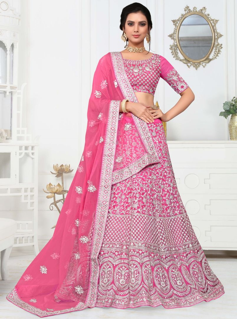 Pink Color Net Pretty Occasion Wear Lehengas NYF-4336 - YellowFashion.in