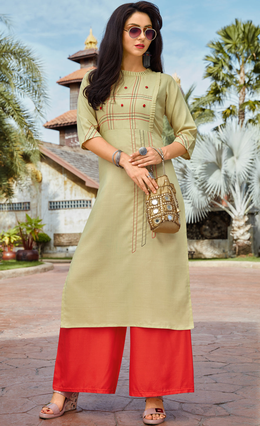 Pastel Green Color Cotton Readymade Kurti With Palazzo NYF-6854
