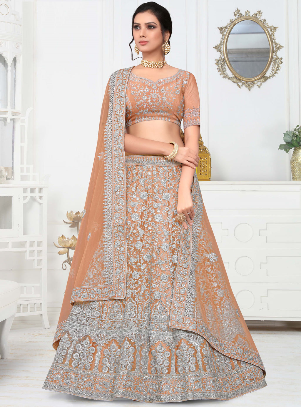 Beige Color Net Pretty Occasion Wear Lehengas NYF-4340 - YellowFashion.in