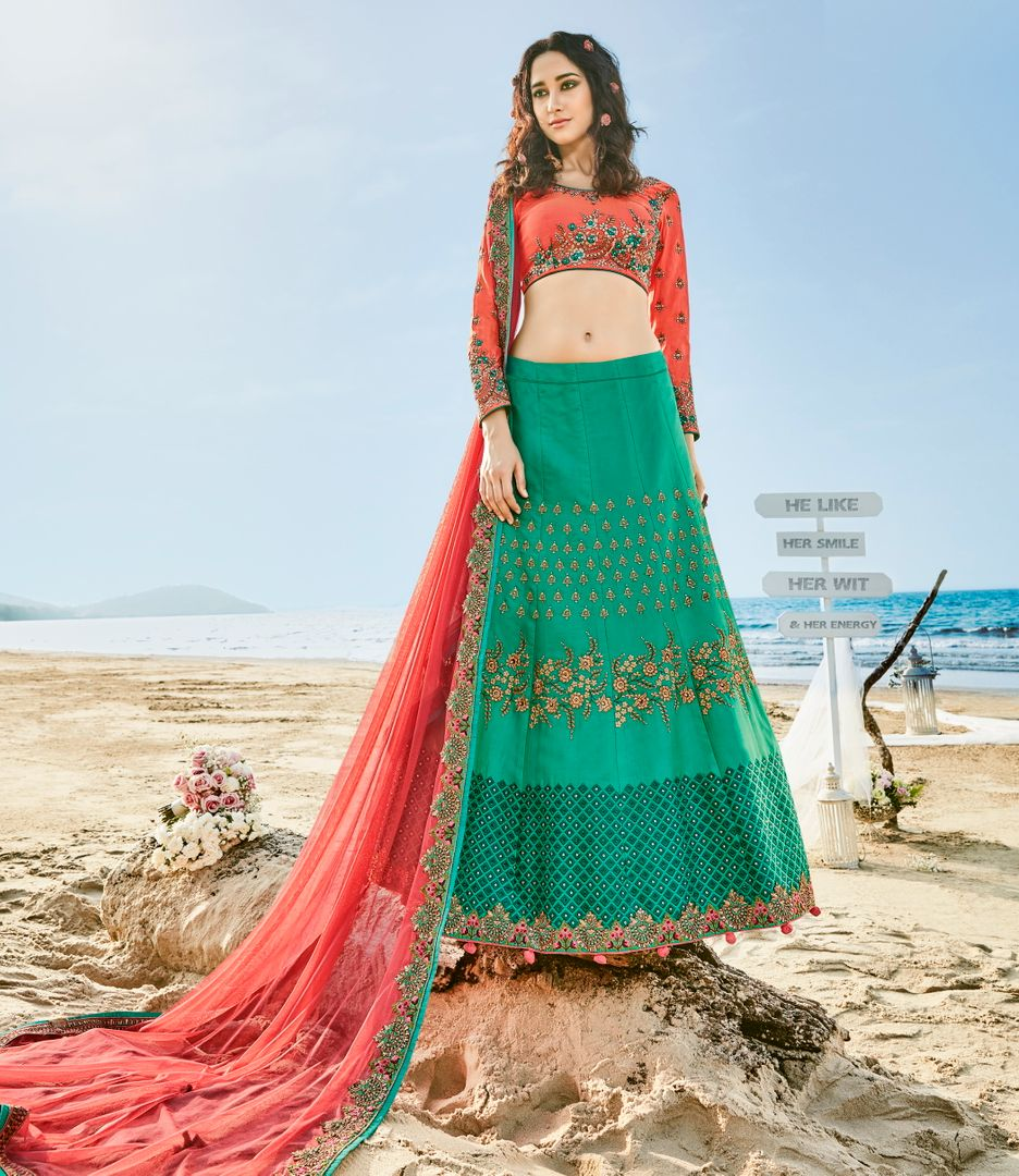 Green    Barfi Silk Designer Lehenga For Wedding Functions : Kreshti Collection  NYF-3305 - YellowFashion.in
