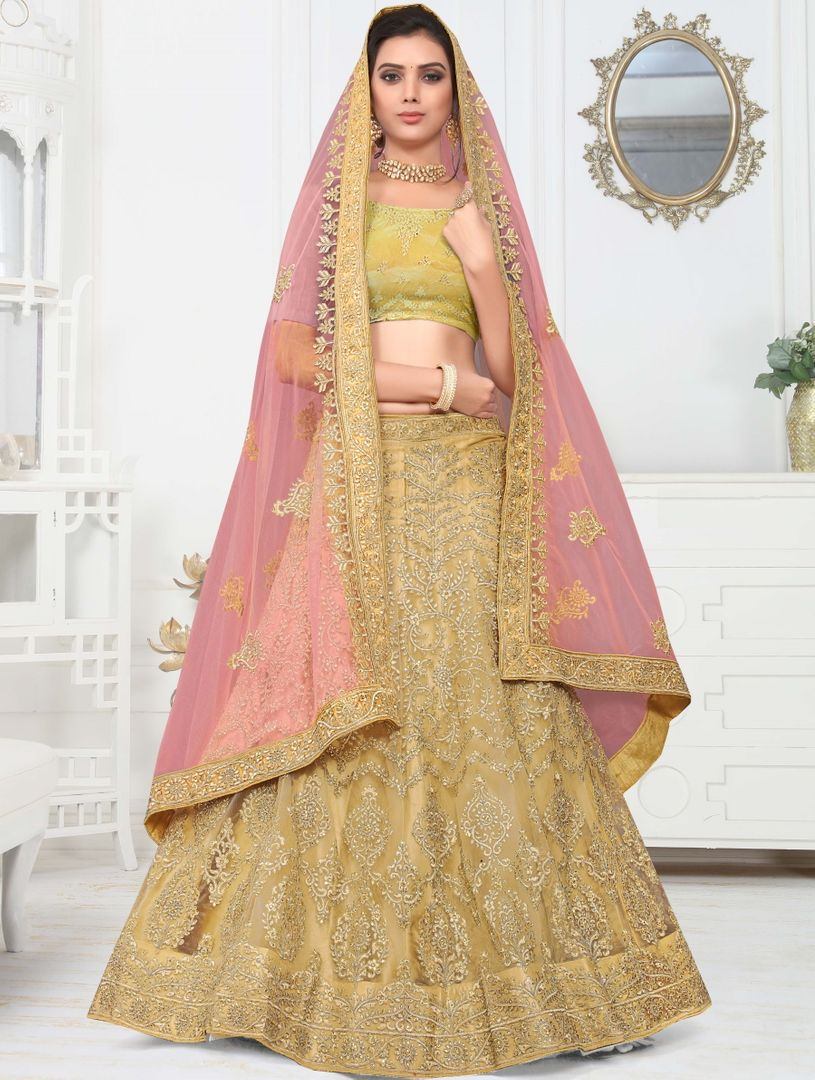 Beige Color Net Pretty Occasion Wear Lehengas NYF-4348 - YellowFashion.in