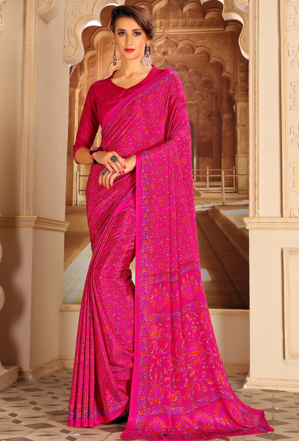 Pink Color Crepe Home Wear Sarees NYF-8722