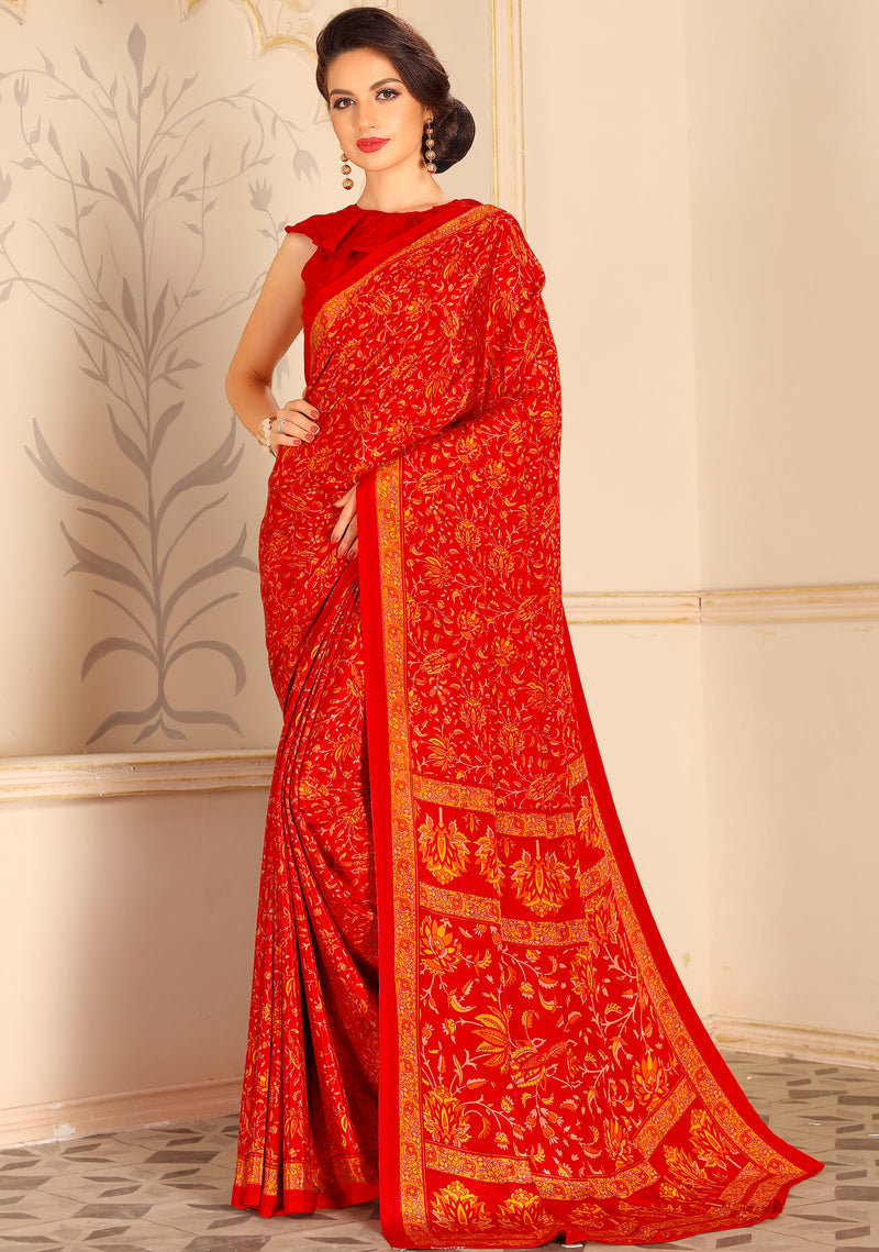 Orange Color Crepe Home Wear Sarees NYF-8723