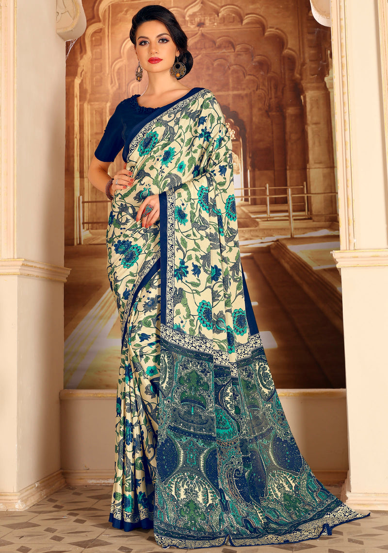 Off White & Blue Color Crepe Home Wear Sarees NYF-8724