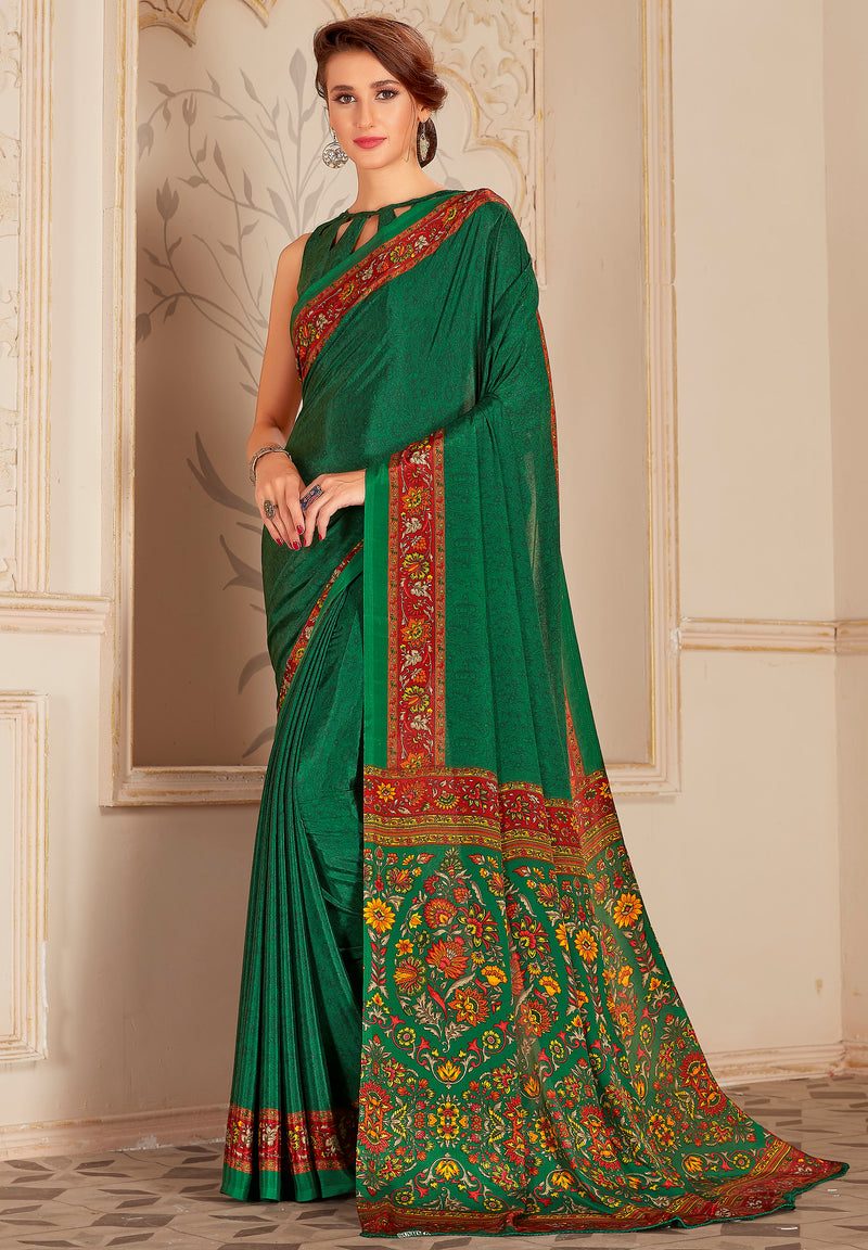 Green Color Crepe Home Wear Sarees NYF-8727