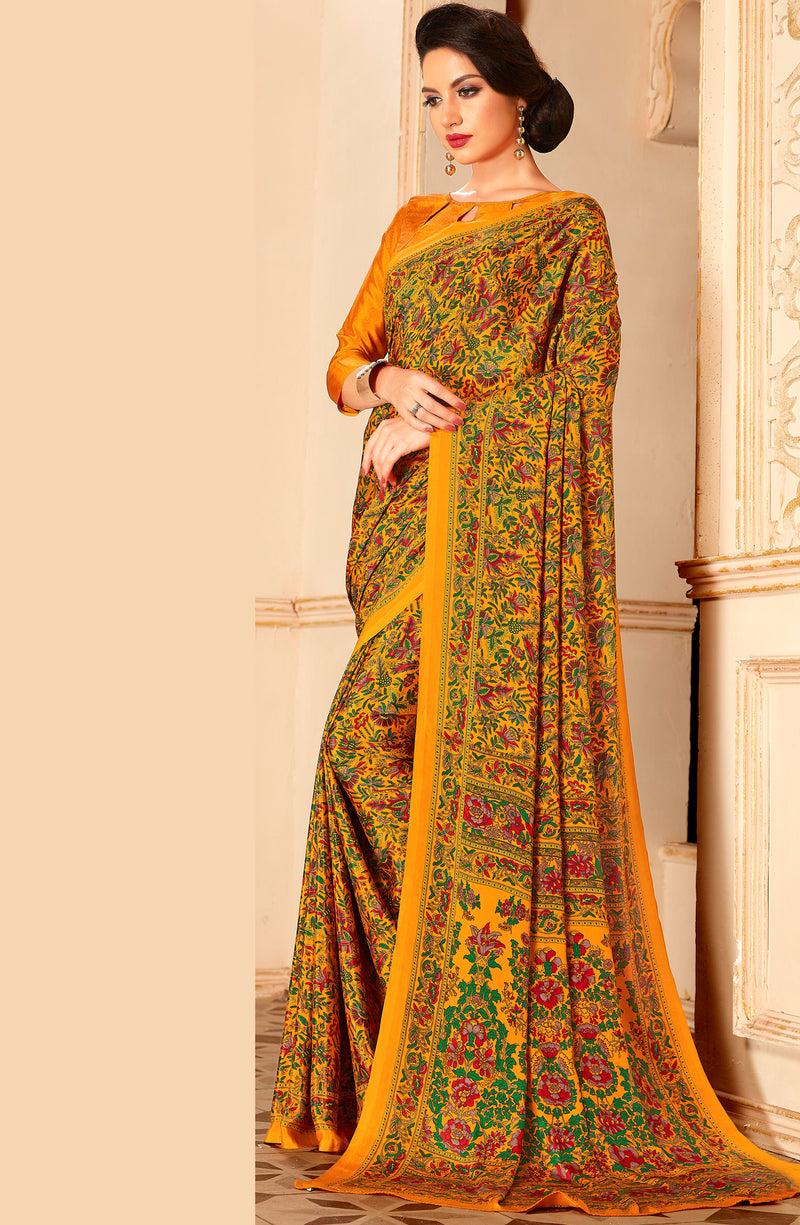 Yellow Color Crepe Home Wear Sarees NYF-8729
