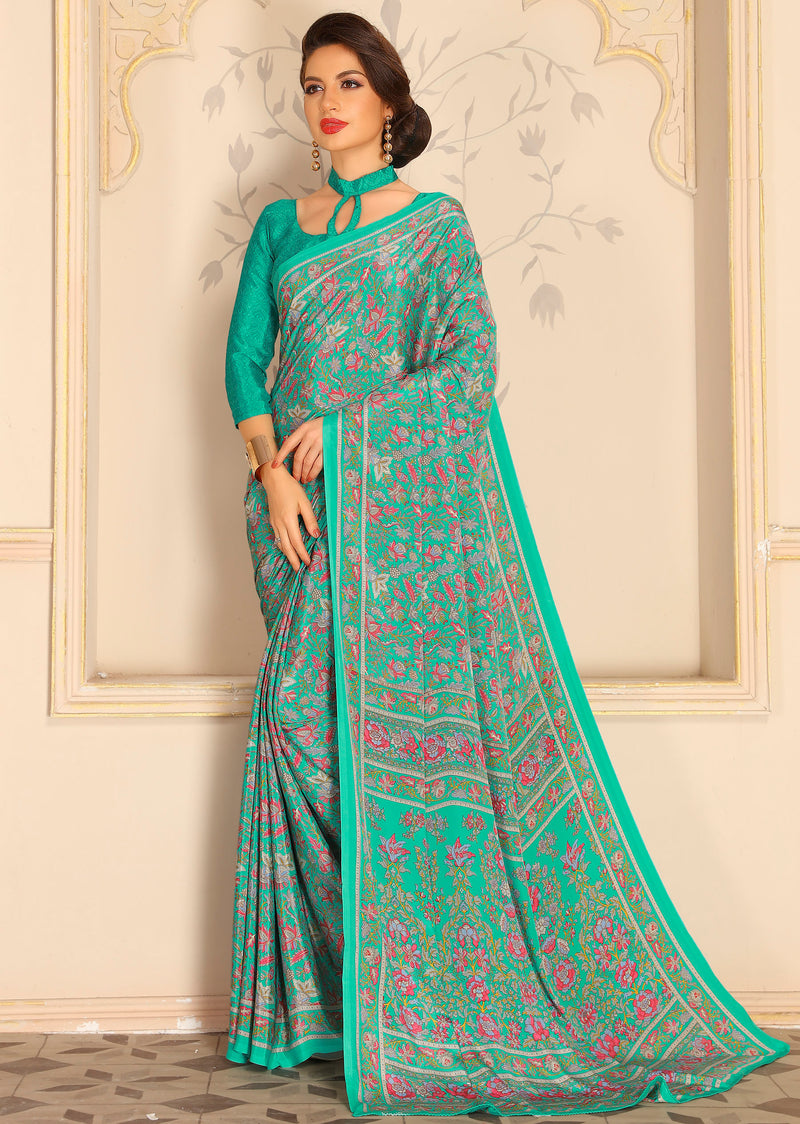 Sea Green Color Crepe Home Wear Sarees NYF-8730