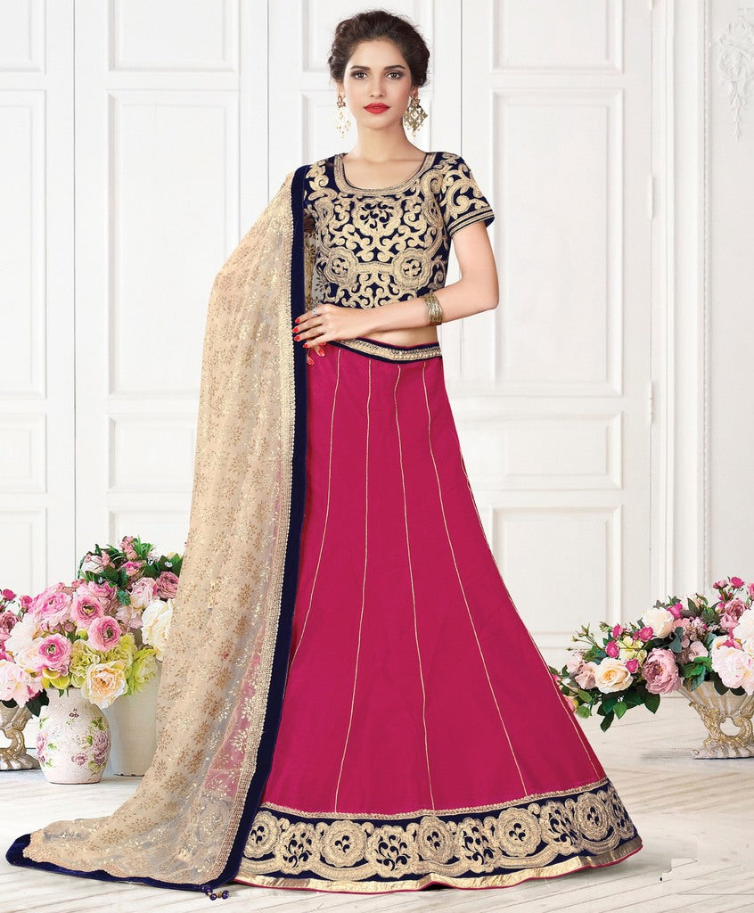 Pink Color Raw Silk Lehenga For Wedding Functions : Nasima Collection  NYF-1819 - YellowFashion.in
