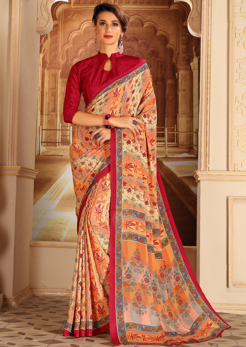 Orange & Red Color Crepe Home Wear Sarees NYF-8734