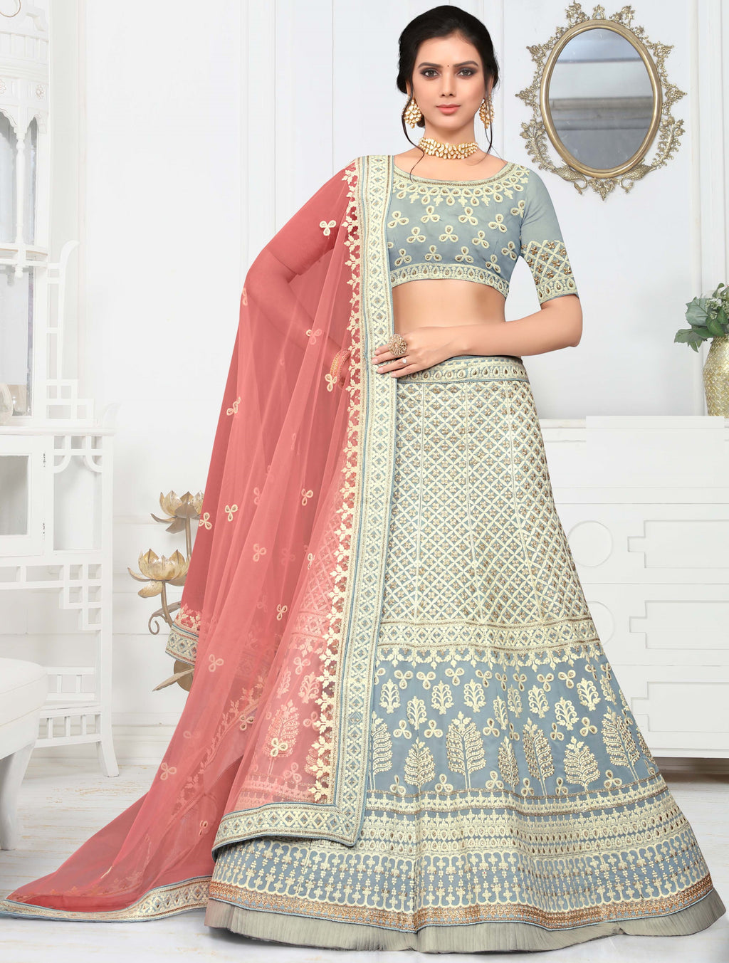 Grey Color Net Pretty Occasion Wear Lehengas NYF-4343 - YellowFashion.in
