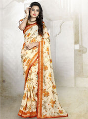 Cream & Orange Color Georgette Kitty Party Sarees : Rishima Collection  YF-48944