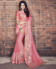 Pink Color Wrinkle Chiffon Designer Wedding Function Sarees : Atmiya Collection  YF-50618