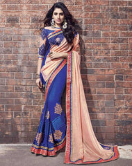 Peach & Blue Color Half Georgette & Brasso Designer Wedding Function Sarees : Atmiya Collection  YF-50619