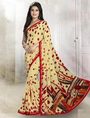 Yellow & Red Color Wrinkle Chiffon Kitty Party Sarees : Rishima Collection  YF-48946