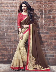 Light Yellow & Dark Brown Color Wrinkle Chiffon Designer Wedding Function Sarees : Atmiya Collection  YF-50620