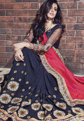 Blue & Pink Color Half Georgette & Half Raw Silk Designer Wedding Function Sarees : Atmiya Collection  YF-50621