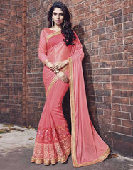 Pink Color Georgette Designer Wedding Function Sarees : Atmiya Collection  YF-50622