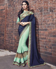 Sea Green & Blue Color Wrinkle Chiffon Designer Wedding Function Sarees : Atmiya Collection  YF-50624