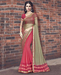 Golden & Pink Color Half Wrinkle Chiffon & Half Smart Net Designer Wedding Function Sarees : Atmiya Collection  YF-50625