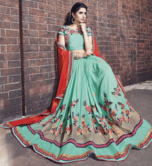 Aqua Green Color Georgette Crush Designer Wedding Function Sarees : Atmiya Collection  YF-50626