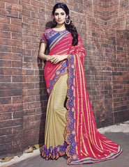 Golden & Rani Pink Color Shimmer Georgette Foil Designer Wedding Function Sarees : Atmiya Collection  YF-50627
