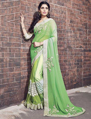 Green Color Half Chiffon & Half Net Designer Wedding Function Sarees : Atmiya Collection  YF-50628