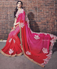 Pink & Red Color Wrinkle Chiffon Designer Wedding Function Sarees : Atmiya Collection  YF-50629