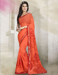 Orange Color Georgette Kitty Party Sarees : Rishima Collection  YF-48947