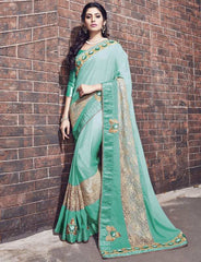Sea Green Color Wrinkle Chiffon Designer Wedding Function Sarees : Atmiya Collection  YF-50630