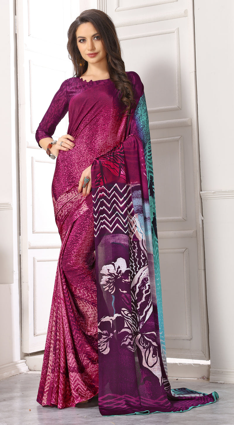Magenta Color Crepe  Digital Print Kitty Party Sarees NYF-8099