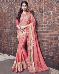 Pink Color Wrinkle Chiffon Designer Wedding Function Sarees : Atmiya Collection  YF-50631
